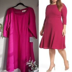 ELIZA J crepe fit and flare dress fuschia pink